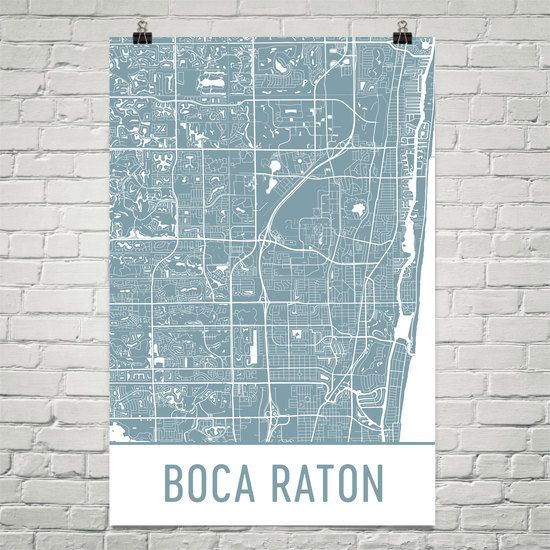 Boca Raton Map Art Print, Boca Raton FL Art Poster, Boca Raton Wall Art, Boca Raton Gift, Map of Boca Raton, Boca Raton Print, Birthday, Art