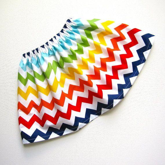 Rainbow Chevron Twirl Skirt  Multi Colored Chevron by valeriya