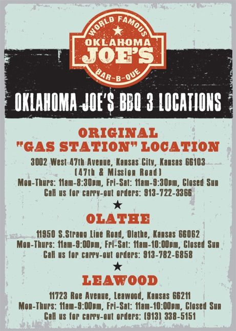 Oklahoma Joe's   voted #1 BBQ restaurant in Kansas City by Zagat 2004 - 2012   (I may have to have a cheat meal on my way home!  Thanks, @Elizabeth Ridgway !!)