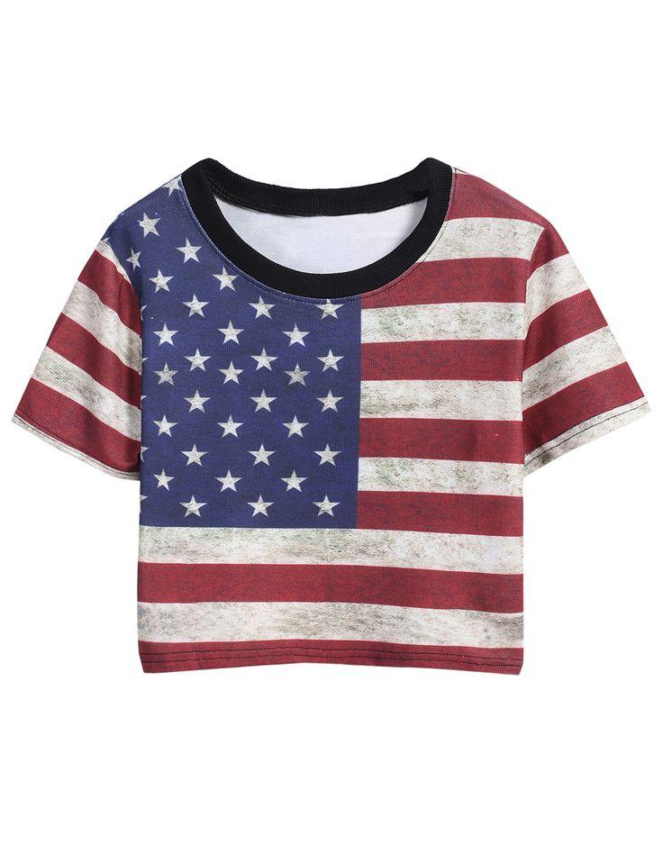 Red Blue Short Sleeve Striped Stars Print T-Shirt
