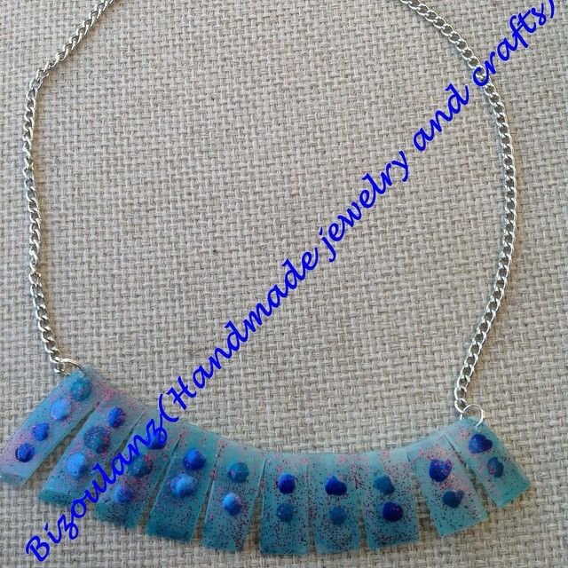 Plastic necklace, light blue.  #plastic#necklace#statementnecklace#jewelry#handmade#recycled#upcycled#ecofriendly#greenfashion#plasticbottle#bizoulanz#χειροποίητο#κόσμημα#κολιέ#μπλέ#ανακυκλώσιμο#πλαστικο