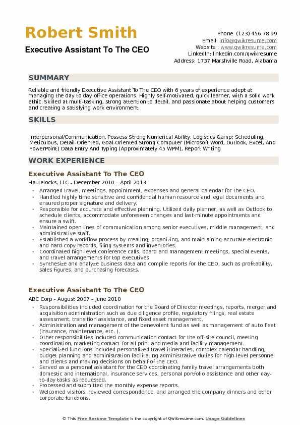 Executive Assistant To The Ceo Resume Example Executive Assistant Resume Summary Examples Professional Resume Examples