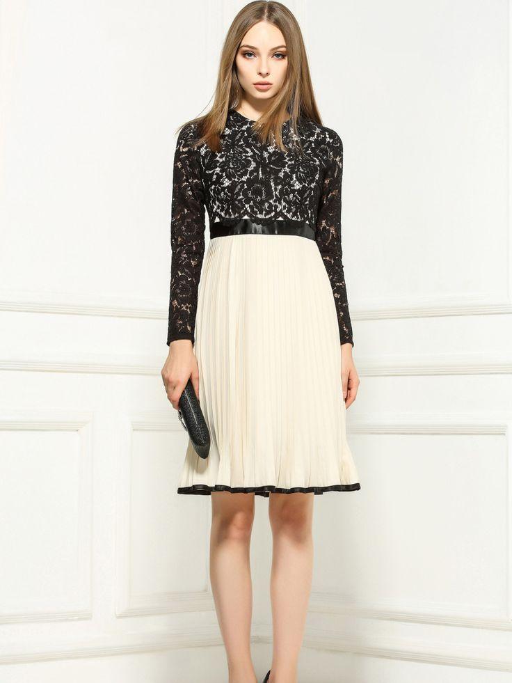 Paneled Chiffon Lace Midi Dress