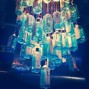 A cool Chandelier made from old Bombay Sapphire Gin bottles