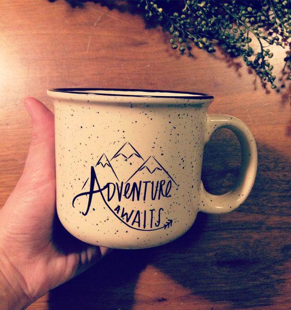 Whimsical Adventure Awaits Camper Mug // 14 oz Ceramic Mug // Christmas Gift, Co Worker Gift, Camping Mug, Ceramic Mug, Housewarming Gift