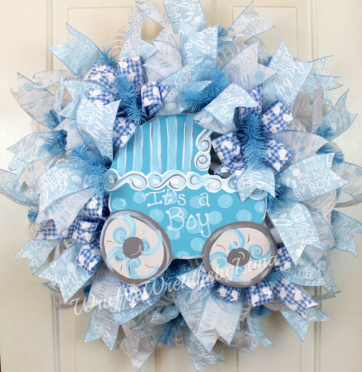 Baby Boy Deco Mesh Wreath, Baby Boy Wreath, Baby Carriage Wreath, Baby Shower Wreath, Baby Reveal Wreath by WruffleWreathsbyLana on Etsy