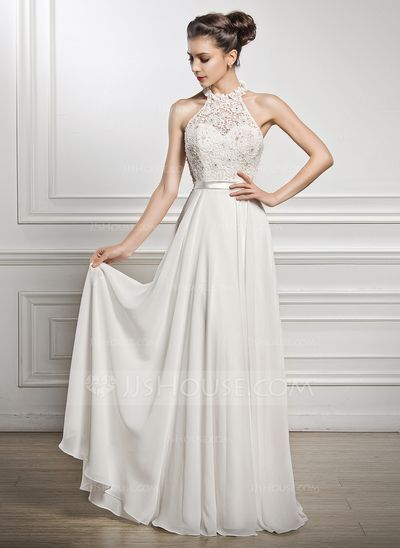 A-linjeformat Rund-urringning Golvlång Chiffong Charmeuse Spetsar Bröllopsklänning med Pärlbrodering Paljetter (002056982)