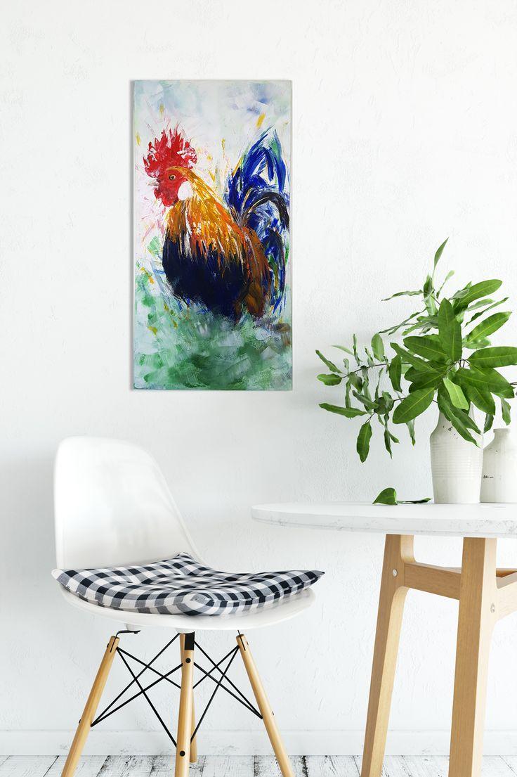 "Art for Sale 12""x 24"" Original Acrylic Artwork - Rooster on Canvas https://www.merilyndcruz.etsy.com"