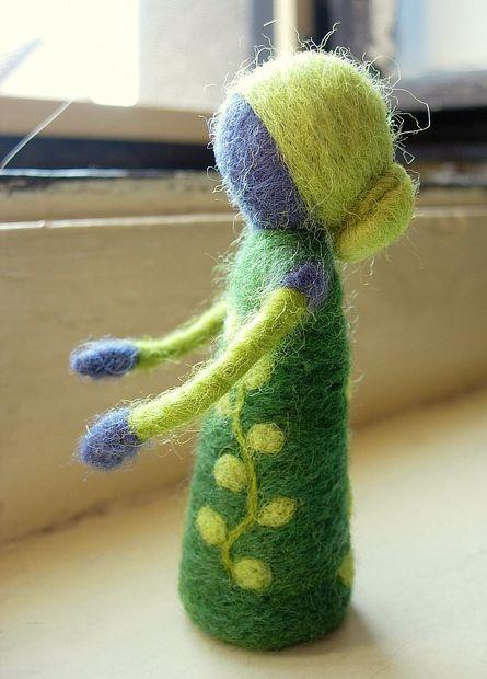 blueberry doll, waldorf inspirated, needle felting
