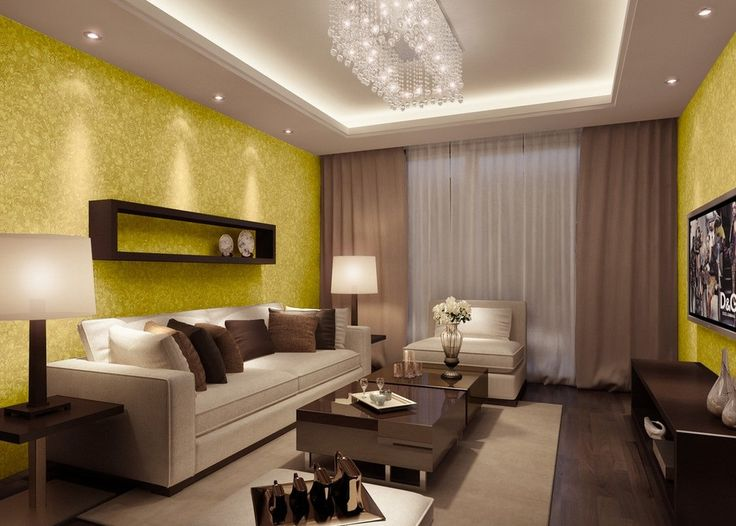 Cool Yellow Wallpaper Design For Living Room