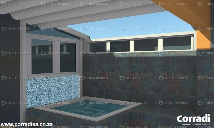 This upmarket apartment in Salt Rock, South Africa had a glass only roof over the spa bath. The owner's brief was to replace it with a retractable Impact roof by Corradi.