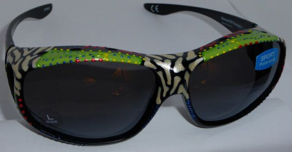 "Hand Painted  Fit overs"""" Luscious Lime  "" Sunglasses that fit over your own eye glasses, custom made especially 4 you."
