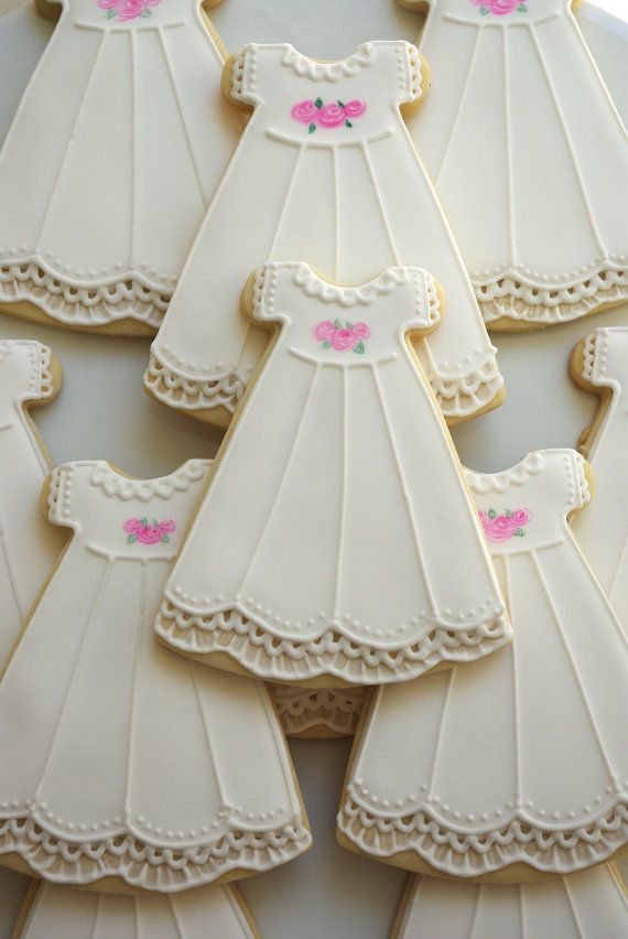 Baptism gowns Cookies~     - decorated sugar cookies, by iBakery on Etsy, White dress