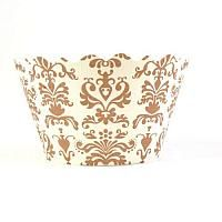 Cupcake Wrappers - Lu Lu - Gold  / White  Damask - Includes 12
