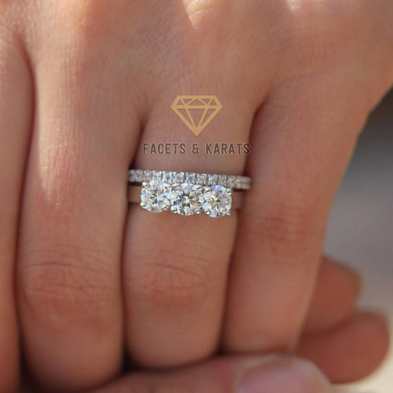 Three Stone Wedding Ring Set Bridal Set 14k White Gold