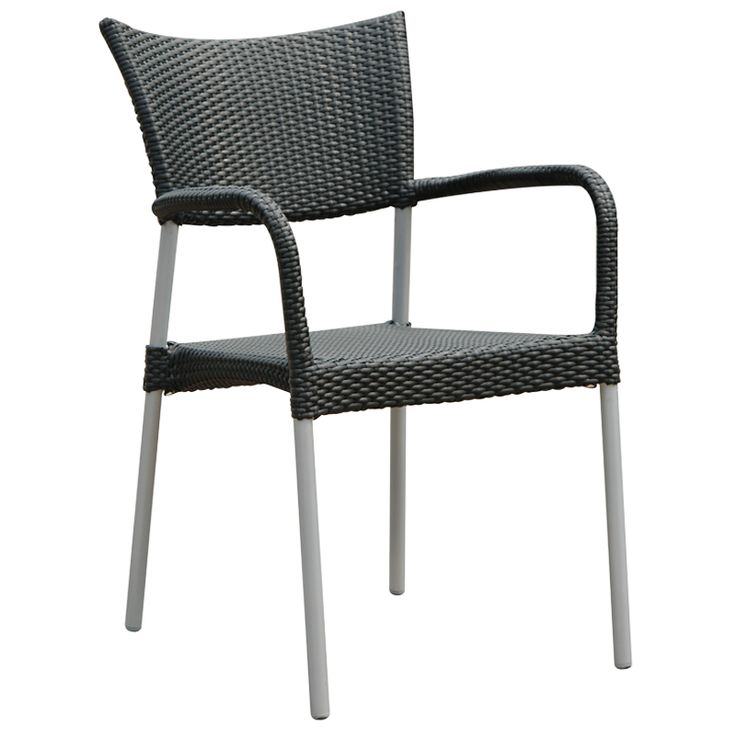 Inverness Outdoor Dining Chair   Made With A Silver Frame And Black Or  White Wicker.