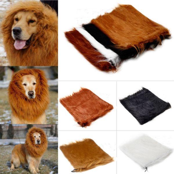 Pet Lion Mane Wig Halloween Costume Clothes for Large Dog Cat 80cm