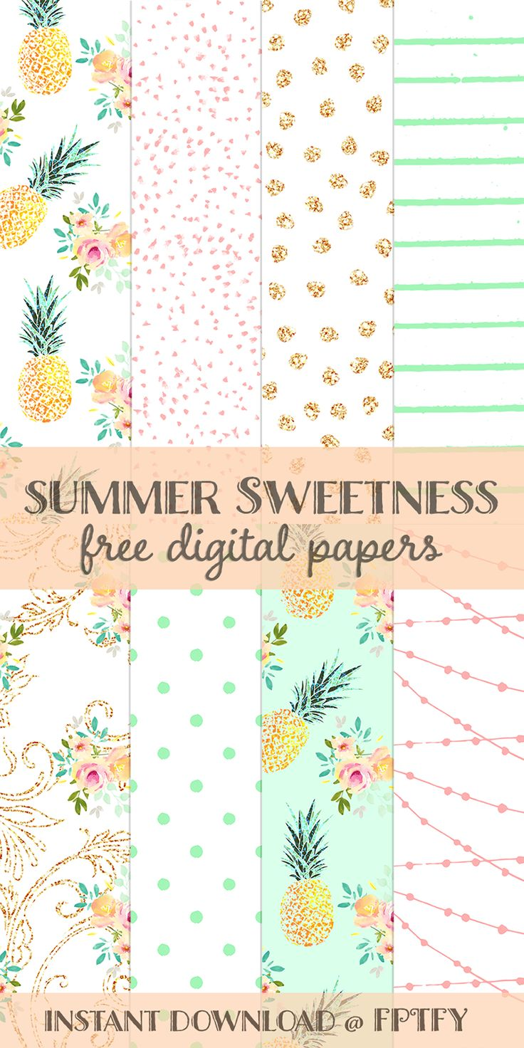 Free Summer Sweetness Digital Paper - Free Pretty Things For You