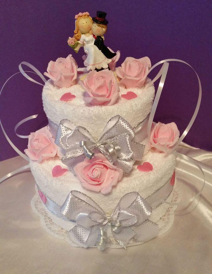 ** Hochzeits(geld)geschenk * Handtuchtorte * 2 stöckig *rosa-weiß **