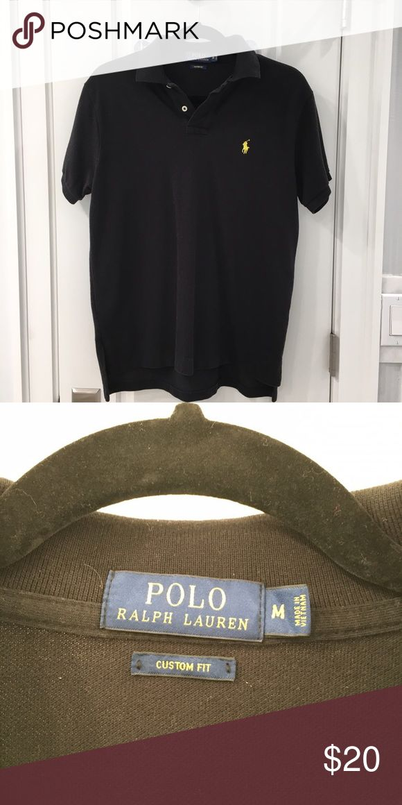 Men's Black Polo by Ralph Lauren Polo Shirt Black polo shirt with yellow pony. Worn once! Custom Fit Medium Polo by Ralph Lauren Shirts Polos