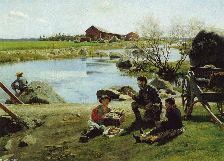 Gunnar Berndtson (1854-1895) Levähdys Markkinamatkalla - Resting on the way to market - Finland