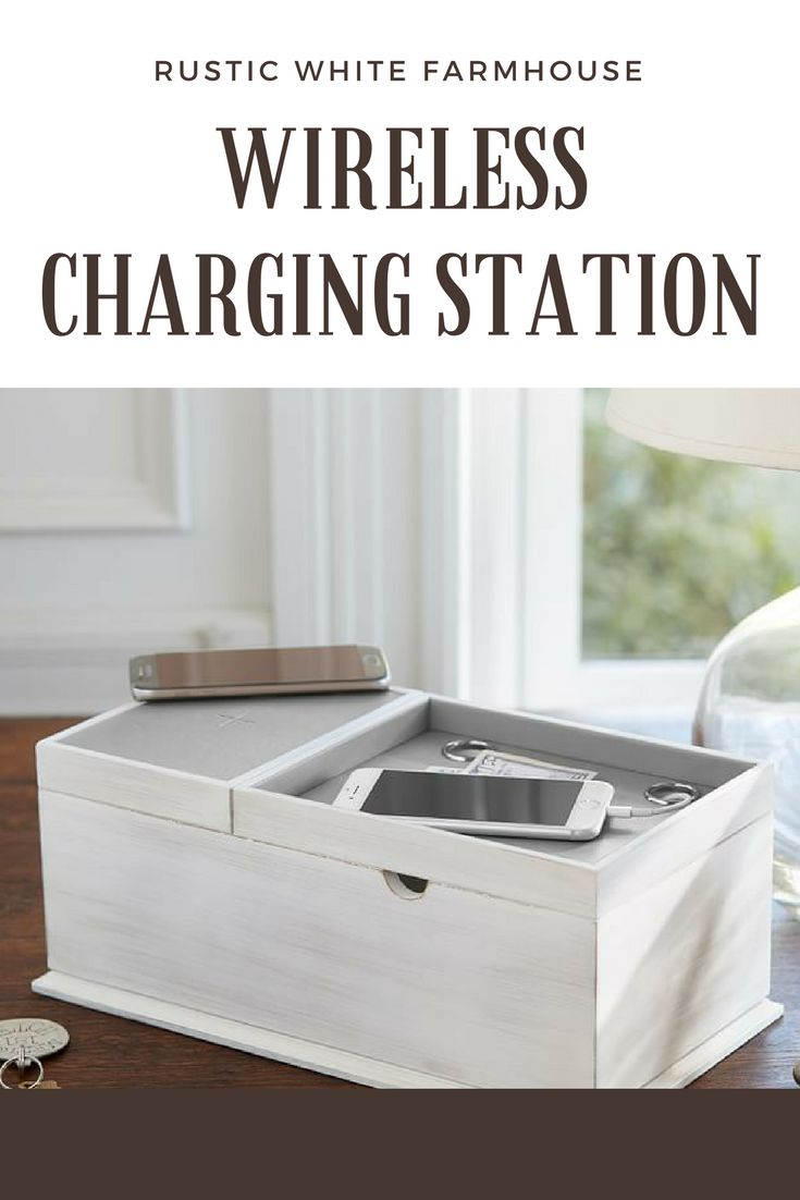 Rustic white charging station. #chargingstation #decor #decorative #ad #white