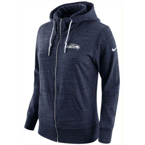 Nike Women's Seattle Seahawks Tailgate Vintage Full-Zip Hoodie ($70) ❤ liked on Polyvore featuring tops, hoodies, navy, hooded sweatshirt, full zip hoodies, nfl hoodie, nfl hoodies and navy blue hooded sweatshirt