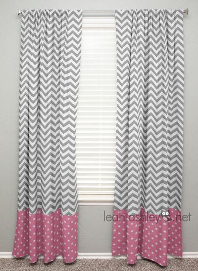 Curtain Panel With Banding Gray Chevron Pink By Leahashleyokc 60 00