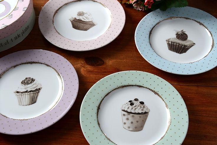 www.facebook.com/thewonderwoodstore Katie Alice plates porcelain, vintage sweets, pastels, muffins decor