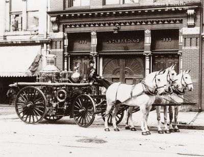 """1911-York Pennsylvania-Fire Engine in front of fire station """"Pumper truck"""""""