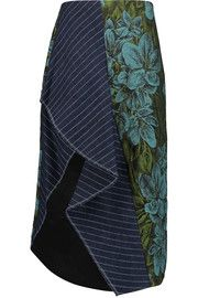 3.1 Phillip LimRuffled pinstriped linen and floral jacquard skirt