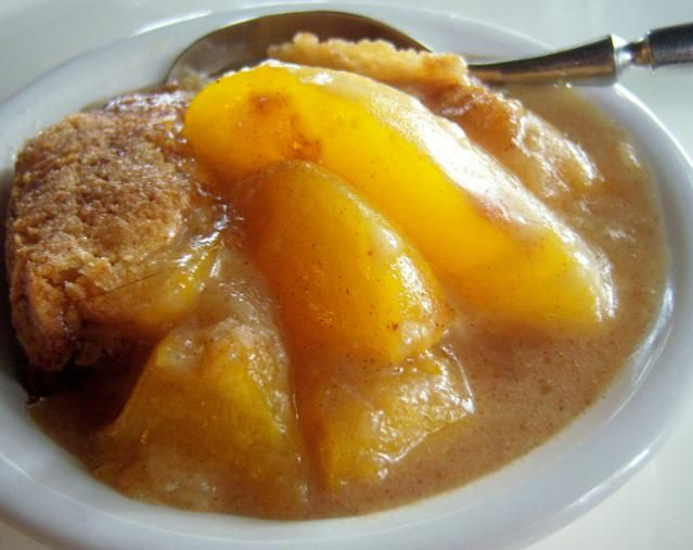 A delicious gluten-free dessert for busy summer days - fast and easy gluten-free peach cobbler.