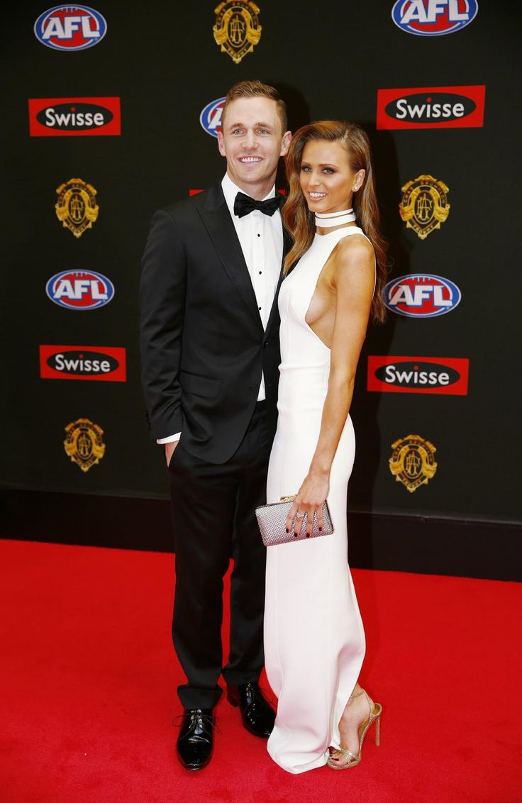 Joel Selwood and Brittany Davis attend the 2015 Brownlow medal. Pic: Michael Klein.