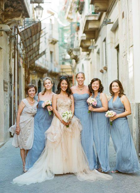 Amsale blue bridesmaid dresses