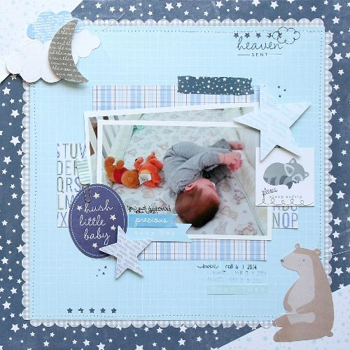 Baby boy scrapbook layout featuring @Pebbles Inc. Special Delivery Collection #scrapbooking #baby