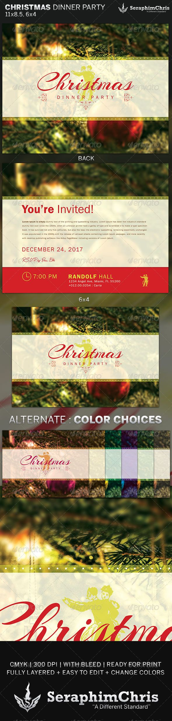 Christmas Dinner Party Flyer Invite Template 1764