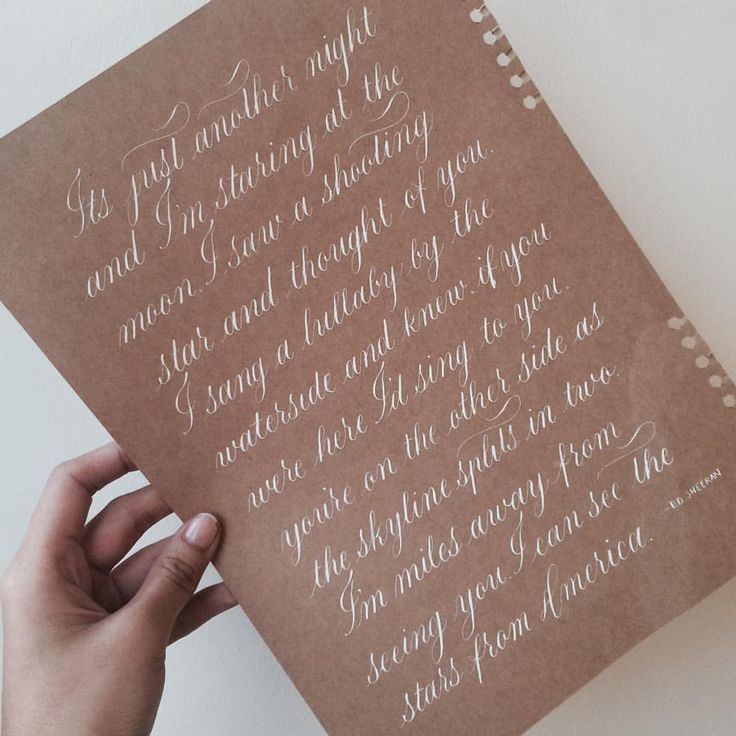 """Colleen on Instagram: """"of course, Ed Sheeran will always be on my feels train  Day 4 of #10DaysofMissingYou  This song is so close to my heart, the words will hit you right in the feels!!  Kraft + White, beautiful!!  #Copperplate • #CopperplateCalligraphy • #CopperplatePH • #calligraphy • #calligraphyPH • #EdSheeran • #lyrics • #flourishforum"""""""