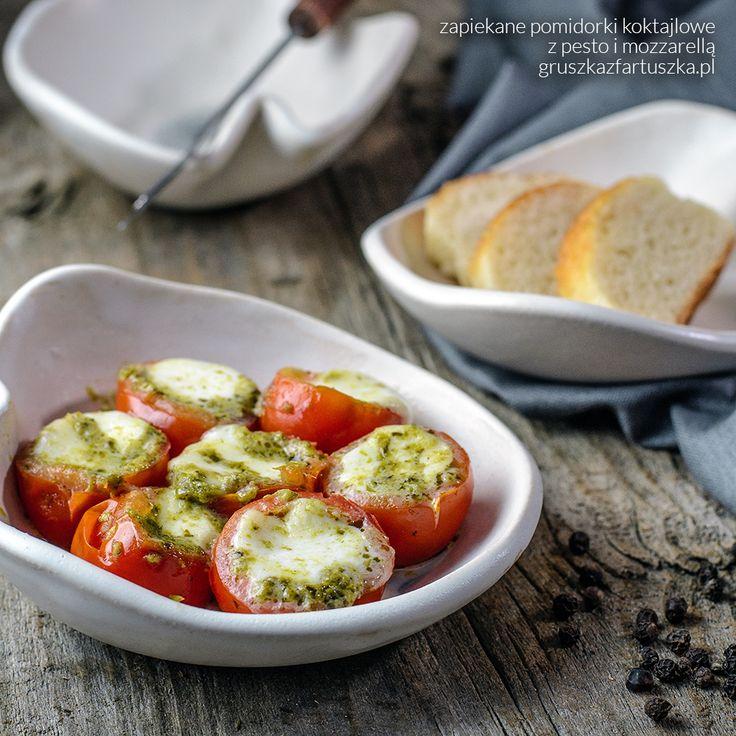 zapiekane pomidorki koktajlowe z pesto i mozarellą