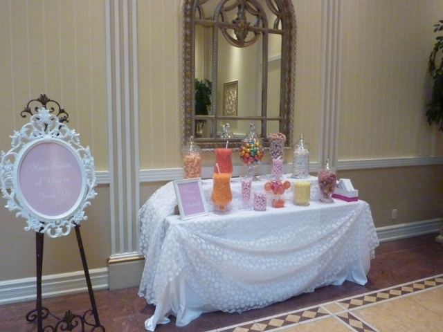 Candy Buffet for your Bridal Shower Favors and Polka Dot Linens!  www.grandentrancedesign.com