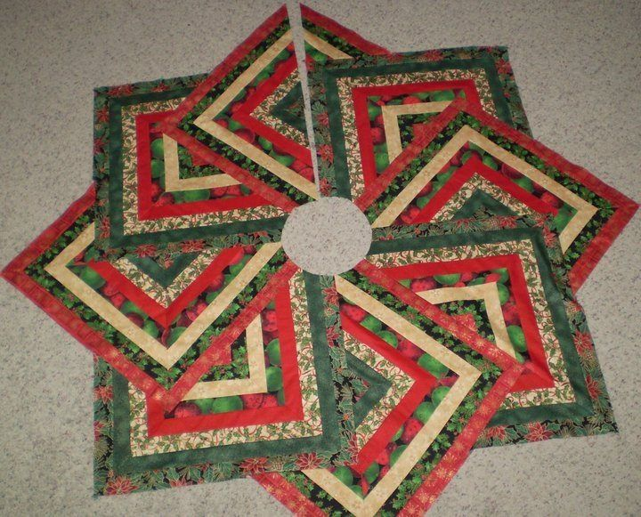 Quilting Pattern For Christmas Tree Skirt : Quilted Christmas tree skirt, crazy 8 strip pattern. converted and made by naomi s tree skirts ...