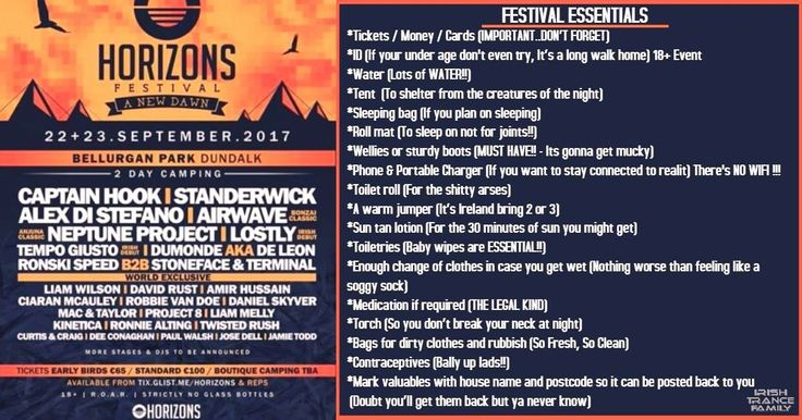With Horizons Festival on the horizon, we've put together a list of some essentials that come in handy while camping at a festival 😉  ONLY 2 DAYS TO GO!!!  For those still to get tickets, get them soon from the link below before they SELL OUT!! This is 1 not to be missed!! 😊🇮🇪️🇮🇪️  Ticket Link: https://www.irishtrancefamily.com/horizons-festival See you's all in Bellurgan!!  #TranceFamily #IrishTranceFamily #Horizons #2DaysCamping #TranceFestival #Ireland