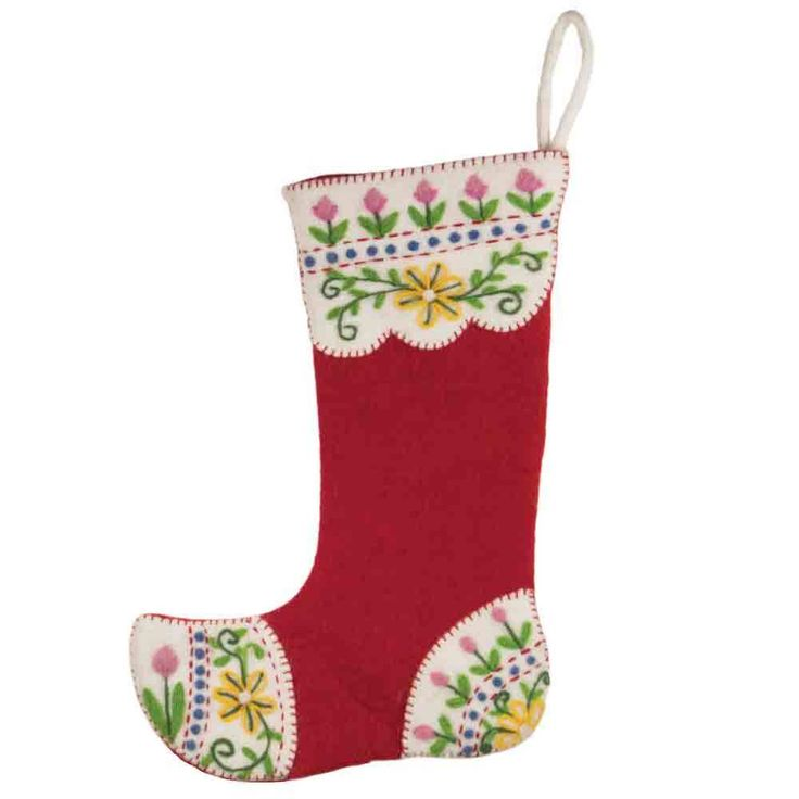 Felt Christmas Stocking Nepal Red Chalet - Tango Zulu Imports