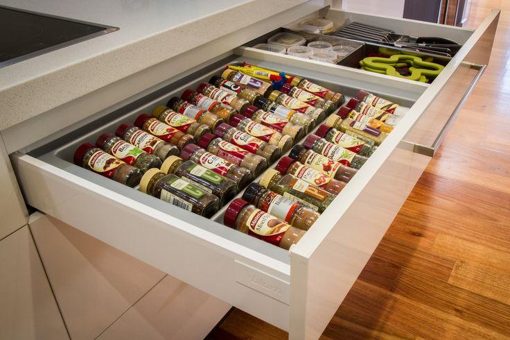 Spice drawer. Blum drawer. www.thekitchendesigncentre.com.au