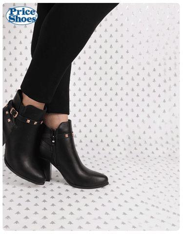 Esta es la mejor época para usarlos todos los días.  #Botines #moda #calzadodama #PriceShoes  #estoperoles #tacón #negro #puntal  #suelanegra