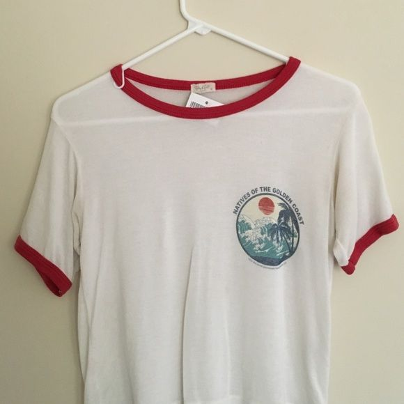 Natives Brandy Melville graphic crop Crop top ringer t shirt, natives of the west coast Tops Tees - Short Sleeve