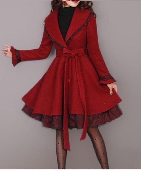 latern sleeve vintage style winter mantel rot yht - Regenbogen-Ketty - Long Coat