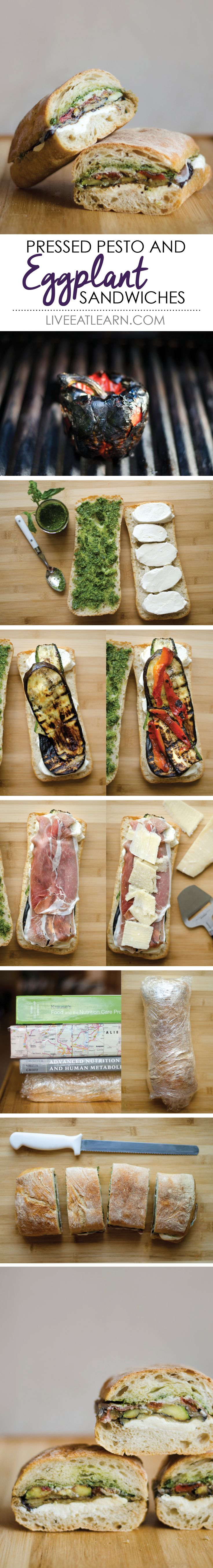 This pressed eggplant sandwich recipe piles in the taste. With pesto, mozzarella, roasted red bell peppers, fresh parmesan, and prosciutto, this recipe makes an easy and healthy dinner or lunch.