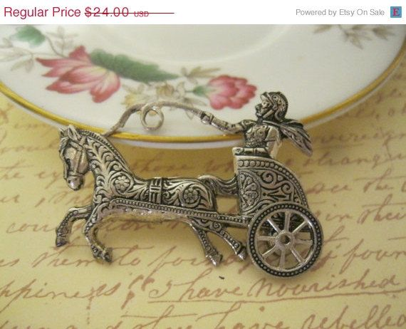 Damascene Chariot Horse Pin Moving Wheel Signed by ...
