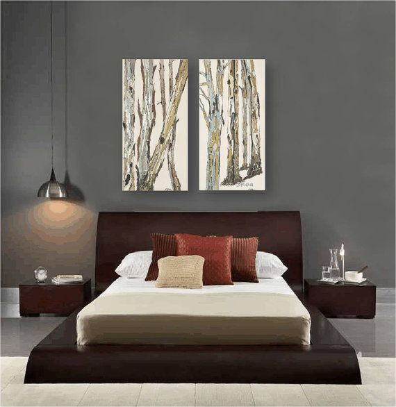ORIGINAL Acrylic Landscape Painting Very LARGE Wall Art Diptych Canvas Art  Pastels Trees Trunks Office Artwork