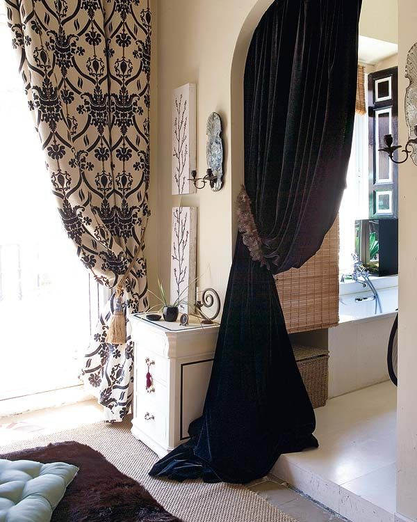 Black White Curtains Panles Interior Design Eclectic Modern Dining Room
